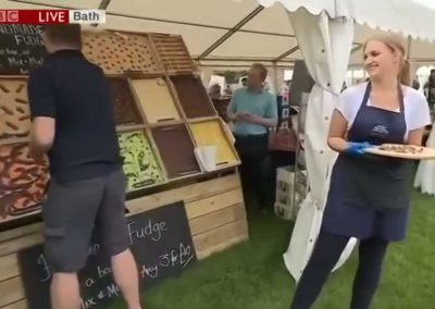 Delicious Sticky fudge featured on BBC 1 LIVE at Chef Tom Kerridge's Pub In The Park Bath event in 2018