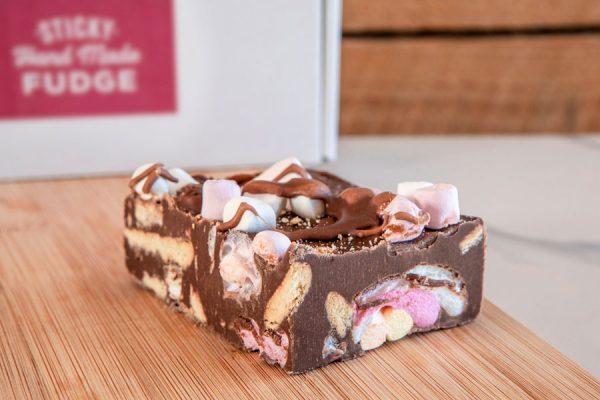 Fluffy marshmallows, rich chocolate & crunchy biscuit - Rocky Road Handmade Fudge